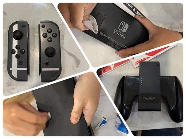 vệ sinh Nintendo Switch sau khi dán skin