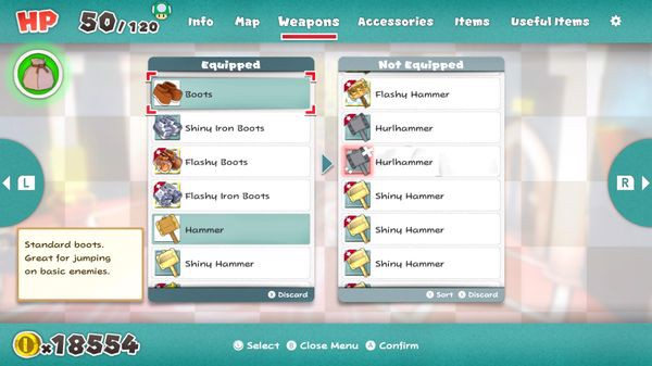 weapon guide Paper Mario The Origami King nintendo switch