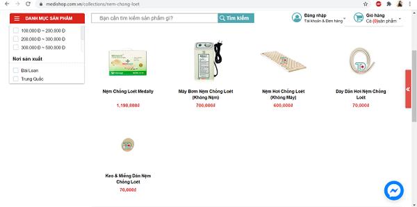 Các sản phẩm nệm chống loét có bán tại medishop.com.vn