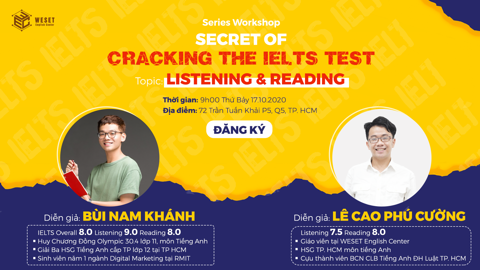 WORKSHOP SECRET OF CRACKING THE IELTS TEST | TOPIC: LISTENING & READING