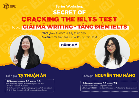WORKSHOP SECRET OF CRACKING THE IELTS TEST | TOPIC: GIẢI MÃ WRITING - CHINH PHỤC IETLS