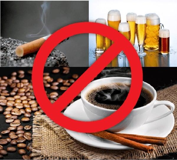 Nên kiêng toàn bộ các chất kích thich như: bia, rượu, cà phê, thuốc lá trong vòng 1 tháng sau phun môi.