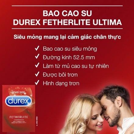 Bao cao su siêu mỏng Durex Fetherlite của Úc - Hộp 30 chiếc