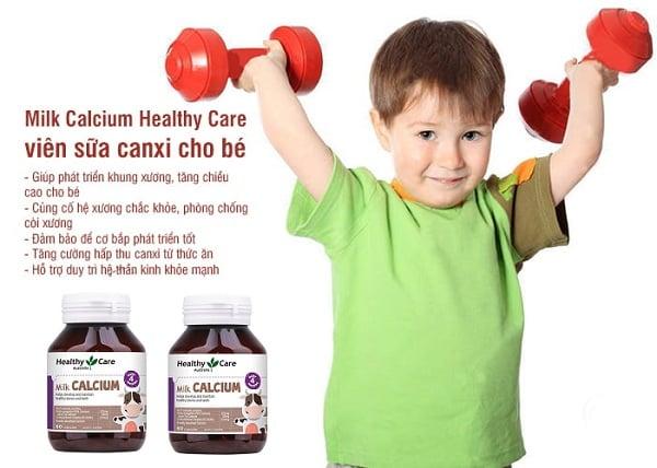 Canxi Milk Healthy Care giúp tăng chiều cao cho bé từ 4 tháng tuổi