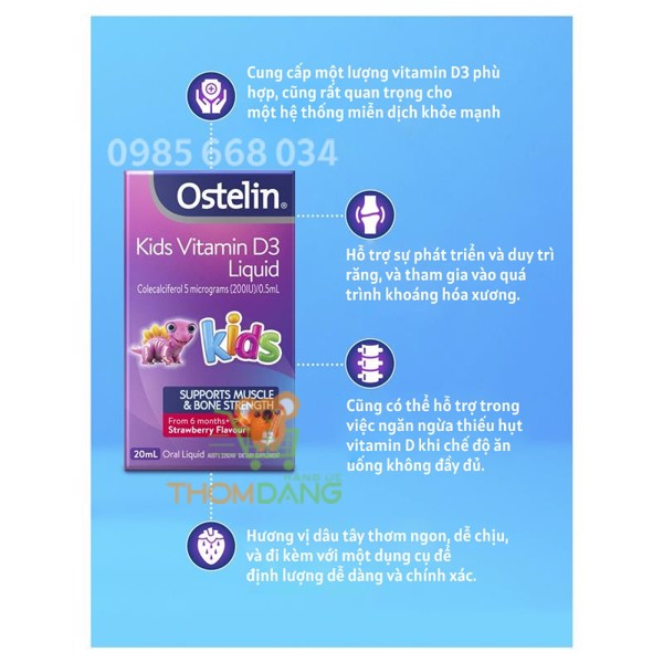 Công dụng của Ostelin Vitamin D3 Liquid Kids
