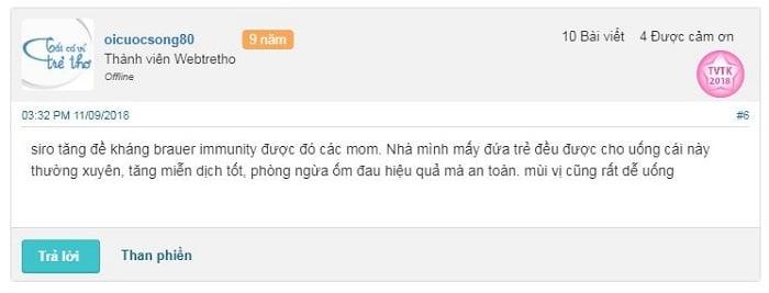 Review siro tăng đề kháng Brauer của bà mẹ Việt