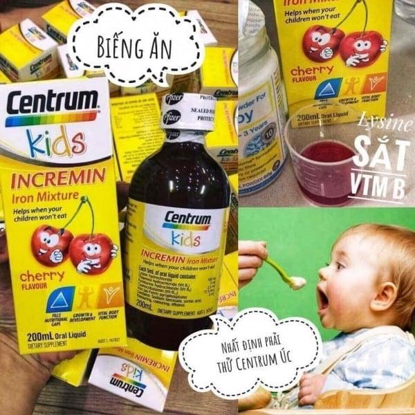 Siro cho trẻ biếng ăn Centrum Kids Incremin Iron Mixture vị cherry 200ml