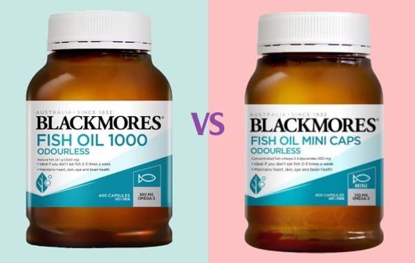 So sánh dầu cá Blackmores Fish Oil 1000 (viên to) và Blackmores Fish OilMini Caps (viên nhỏ)