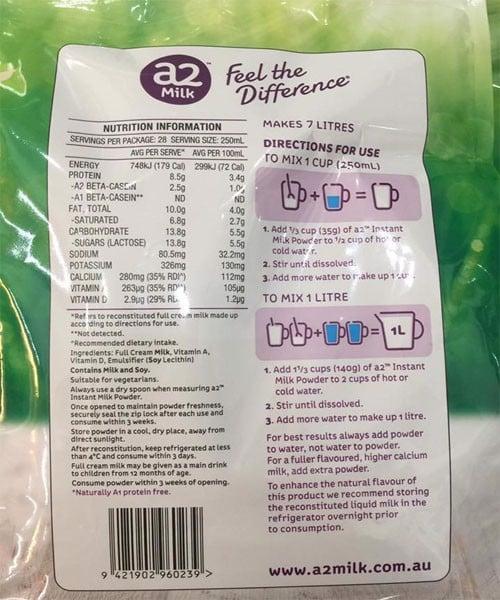 Hướng dẫn sử dụng sữa A2 nguyên kem Full Cream Milk 1Kg
