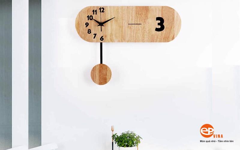 Đồng hồ gỗ trang trí phòng khách