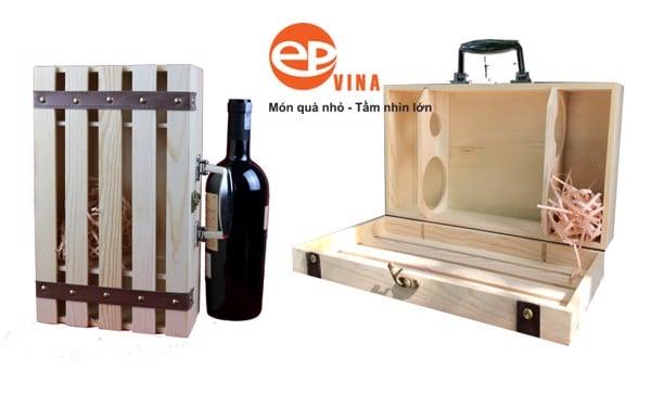 hộp đựng rượu vang bằng gỗ đôi