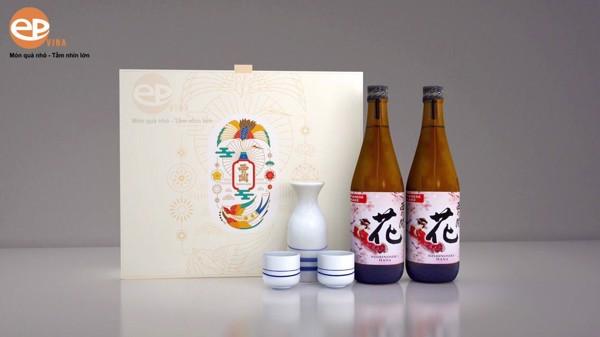 hộp quà rượu sake nâu