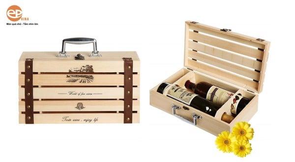 hộp quà tặng gỗ đôi