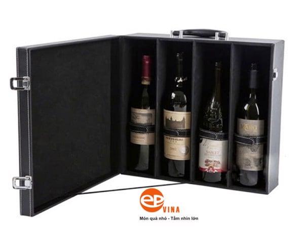 hộp rượu da 4 chai