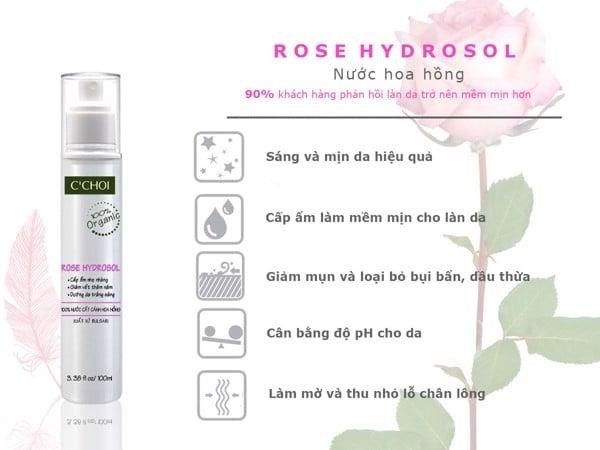Công dụng của nước hoa hồng, nước hoa hồng làm sáng da, nước hoa hồng trị thâm, nước hoa hồng se khít lỗ chân lông