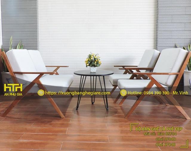 Bộ bàn ghế sofa cafe SF04 tinh tế