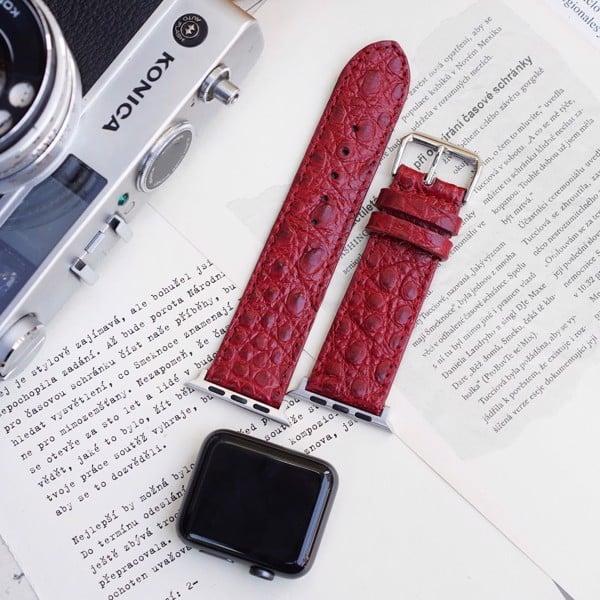 dây đồng hồ apple watch da cá sấu màu đỏ thời trang