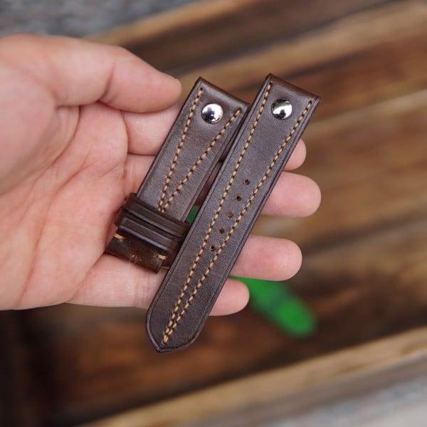 Dây đeo đồng hồ da bò may tay thủ công - TC05