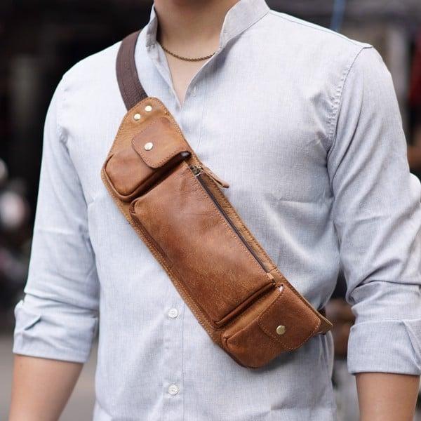 Túi đeo trước ngực làm bằng da bò