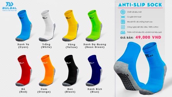 Tất vớ bóng đá thể thao Bulbal Anti Slip Sock Đen Trắng Xanh Dương Xanh Ya Xanh Lá Đỏ Cam Vàng