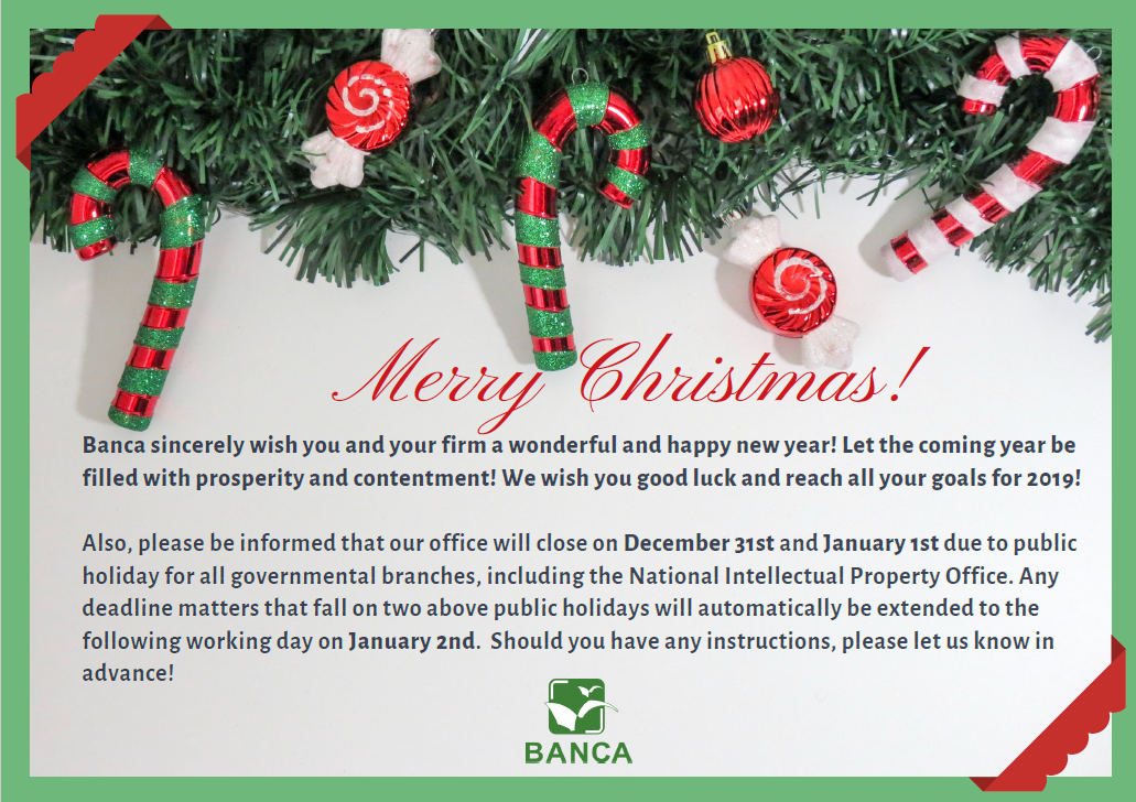 Best wishes from Banca IP Law Firm