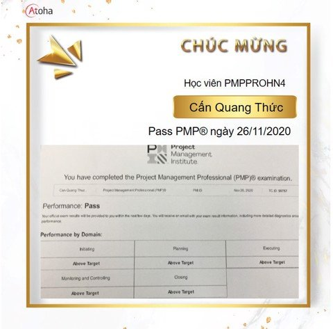 Cấn Quang Thức, PMPPROHN4, Pass PMP on the first try 5AT