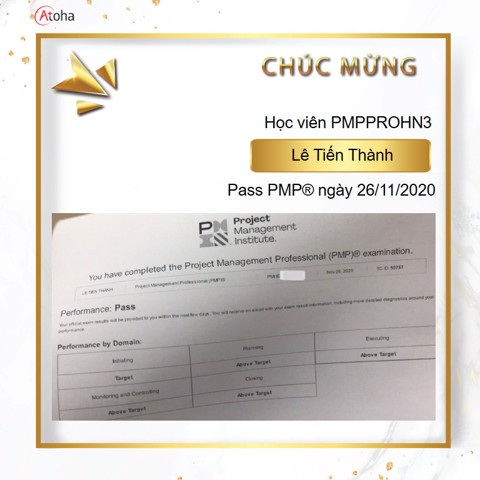 Lê Tiến Thành, PMPPROHN3, Pass PMP on the first try 4AT