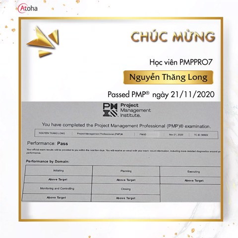 Nguyễn Thăng Long, PMPPRO7, Pass PMP on the first try 5AT