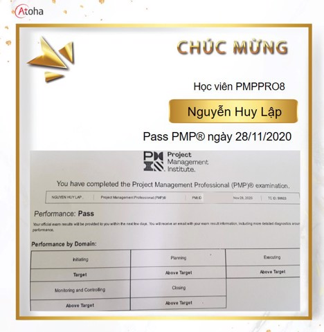 Nguyễn Huy Lập, PMPPRO8, Pass PMP on the first try 4AT