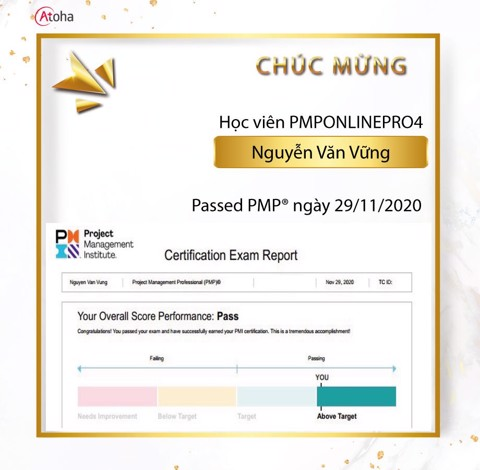 Nguyễn Văn Vững, PMPONLINEPRO4, Pass PMP on the first try 4AT