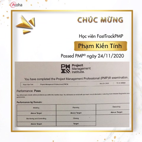 Phạm Kiến Tính, FastTrackPMP, Pass PMP on the first try 4AT