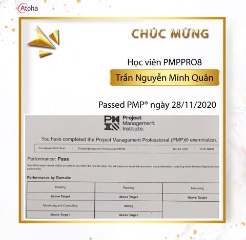 Trần Nguyễn Minh Quân, PMPPRO8, Pass PMP on the first try 5AT