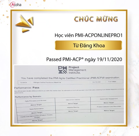 Từ Đăng Khoa, PMI-ACPONLINEPRO1, Pass PMI-ACP on the first try 7AT