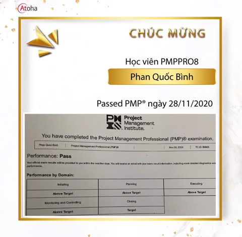 Phan Quốc Bình, PMPPRO8, Pass PMP on the first try 4AT