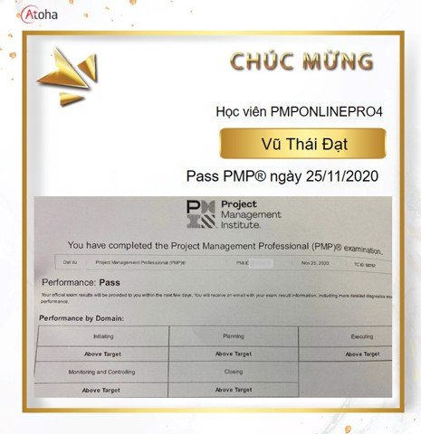 Vũ Thái Đạt, PMPONLINEPRO4, Pass PMP on the first try 5AT