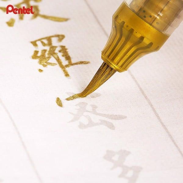 Bút nhũ vàng viết thư pháp hãng Pentel