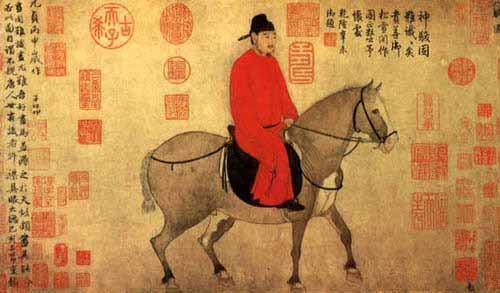 Người cưỡi ngựa (Nhân kỵ đồ 人騎圖) - tranh Triệu Mạnh Phủ (đời Nguyên)