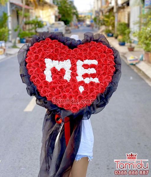 bó hoa hồng sáp thơm chữ mẹ