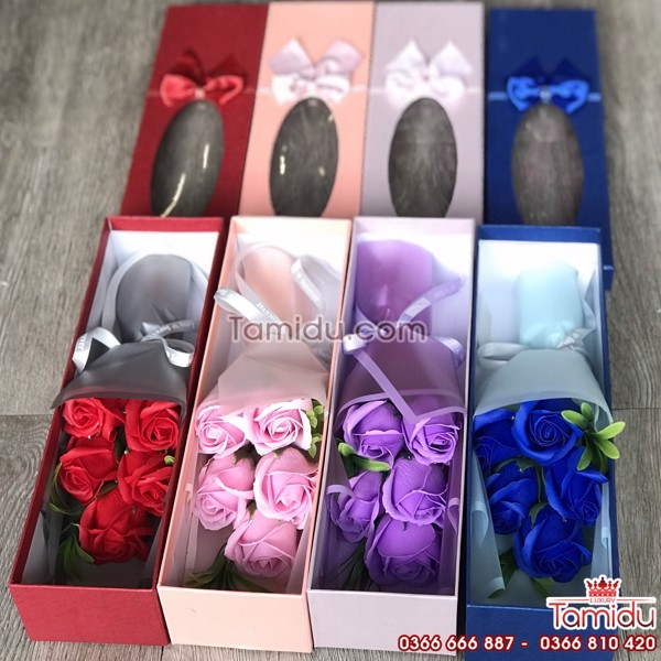 Vỏ đựng hộp 5 bông hồng sáp -sỉ phụ liệu hoa