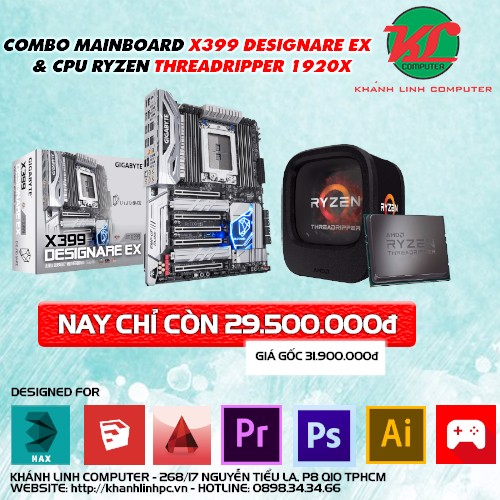 SALE HOT: COMBO MAINBOARD X399 DESIGNARE EX & CPU RYZEN THREADRIPPER 1920X