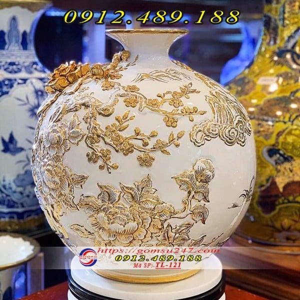 Bình tài lộc mạ vàng Bát Mã Truy Phong