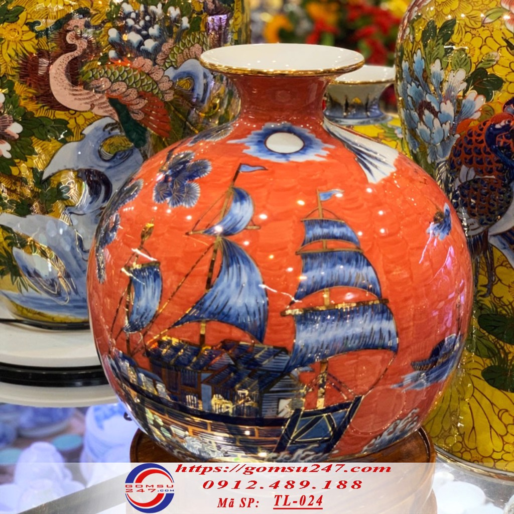 Bình tài lộc gốm sứ Thuận buồm xuôi gió nền màu đỏ