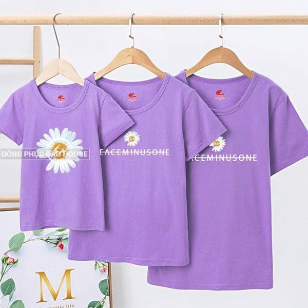 Áo gia đình màu tím 3 người họa tiết hoa cúc