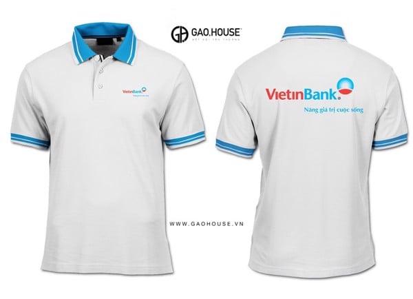 Đồng phục nhân viên văn phòng giao dịch ngân hàng ViettinBank màu trắng thanh lịch