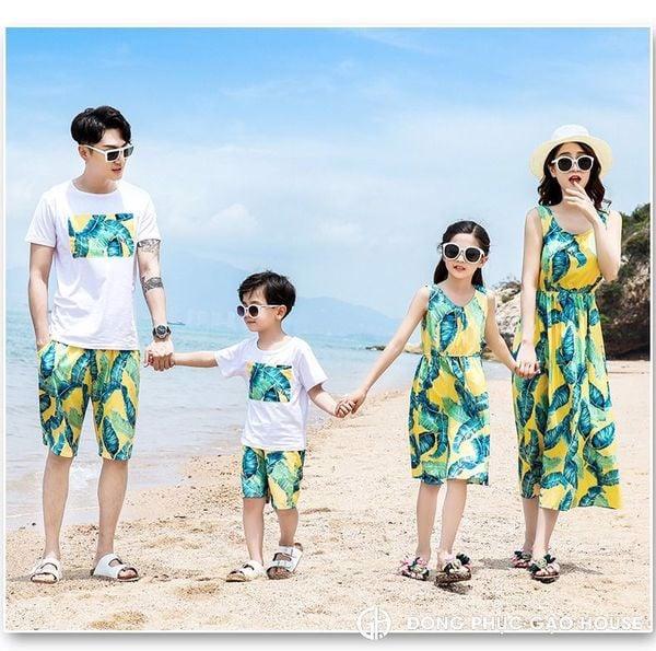áo váy cặp đồng phục gia đình đi biển