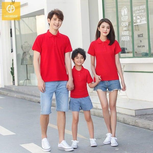 Bộ quần áo gia đình đi biển kiểu áo thun có cổ trẻ trung, khỏe khoắn