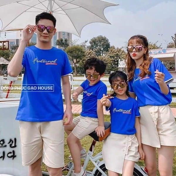 Bộ quần áo gia đình 4 người màu xanh dương
