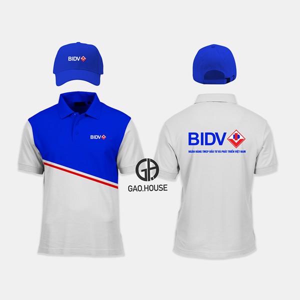 đồng phục ngân hàng BIDV cổ trụ trắng - xanh