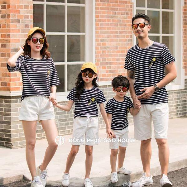 set áo gia đình họa tiết kẻ ngang phối màu đen - trắng