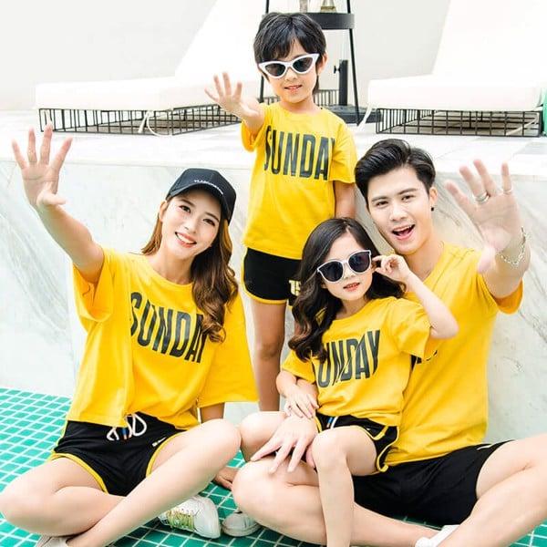 áo phông gia đình mùa hè 4 người